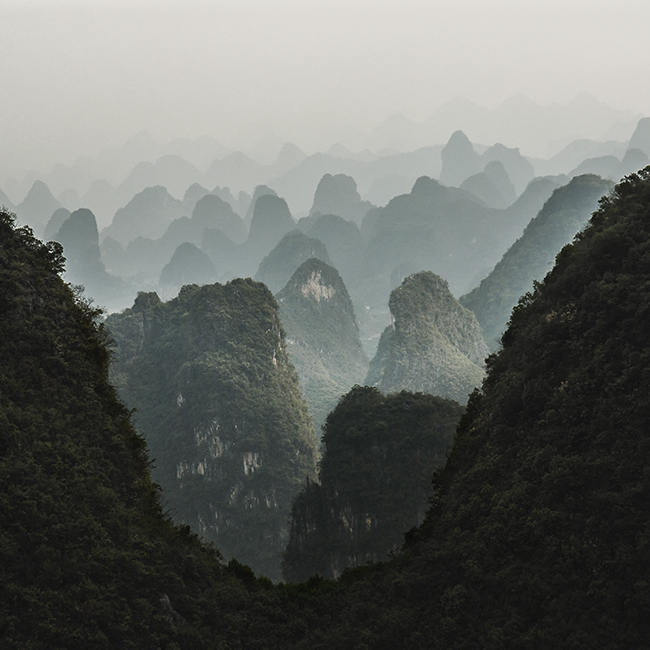 In south China, karst mountains form the characteristic scenery of Yangshuo.