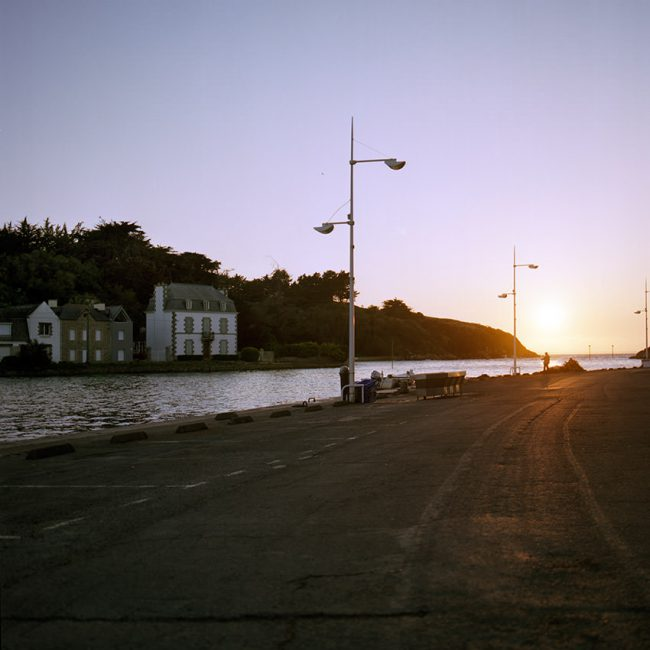 Terres Neuvas' dock at sunset with high tide, Dahouët
