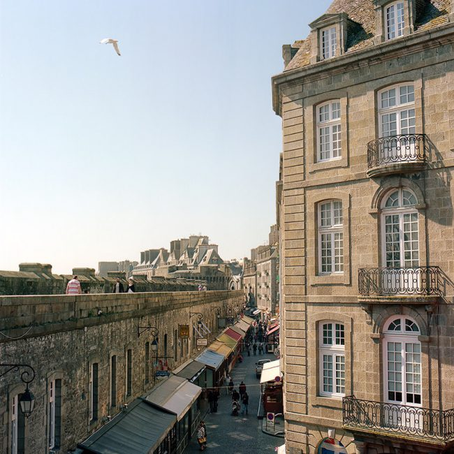 View from the ramparts of Saint Malo on a typical building, Brittany