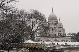 The Basilica of the Sacred Heart of Paris is under the snow.
