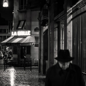 The place d'Aligre by a rainy night in Paris.