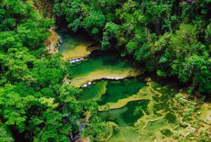 The natural waterfalls of Semuc Champey are located in Guatemala.