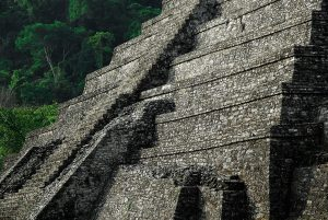 One of the pyramids of the ancient Mayan city of Palenque in Mexico.