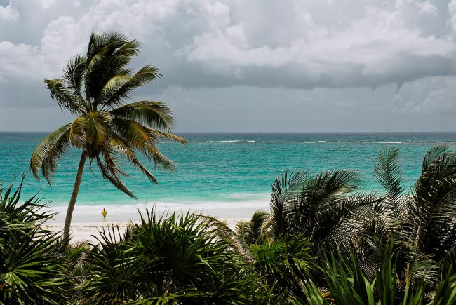 One of the beaches of Tulum in Mexico.