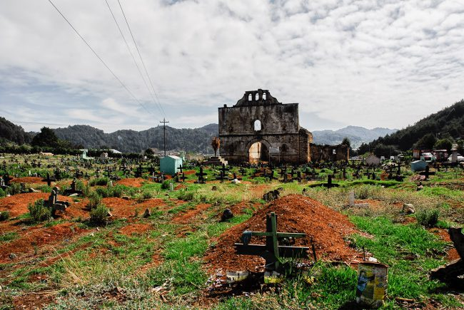 The cemetery of San Juan Chamula in Mexico.
