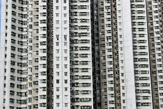 Details of the buildings facades in Hong Kong.