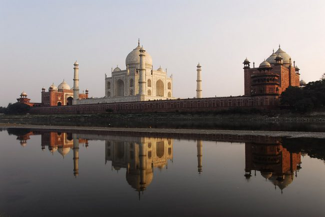 The Taj Mahal was built on the edge of the Yamuna river in the indian city of Agra.