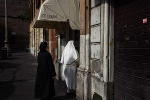 Two nuns go to buy an ice cream in Rome.