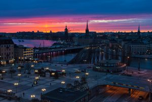 Sunset on the districts of Södermalm and Gamla Stan in Stockholm.