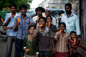 Eating ice cream with family in Mahabalipuram, South India.