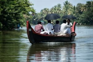 Umbrellas on a boat in the backwaters of Alleppey, South india
