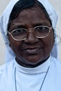 Portrait of a christian nun in Pondicherry, South India
