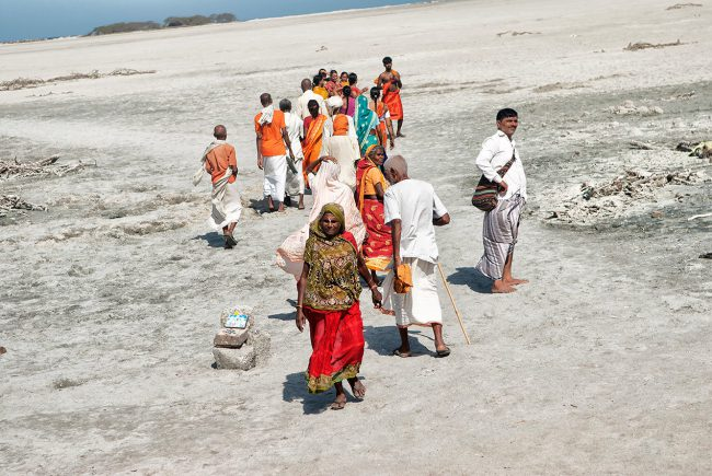 A group of Hindus during his pilgrimage in Rameswaram, South India