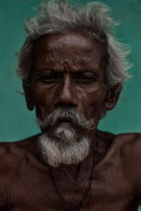 Portrait of an Indian just outside the temple in Tiruvannamalai, South India