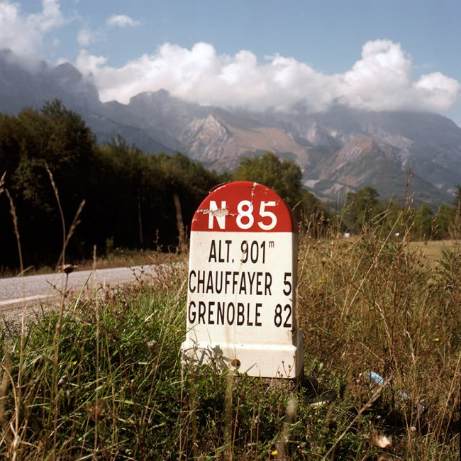 A kilometer marker of the french Nationale 85.