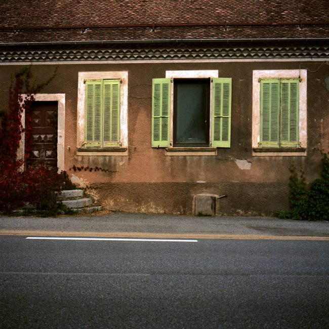 The green shutters of a typical house in the Champsaur.