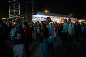 Festival-goers are enjoying the show in Musilac at night
