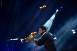 Ibrahim Maalouf trumpet player on stage at Musilac