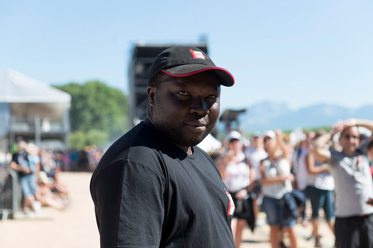 Portrait of a security agent at Musilac festival.