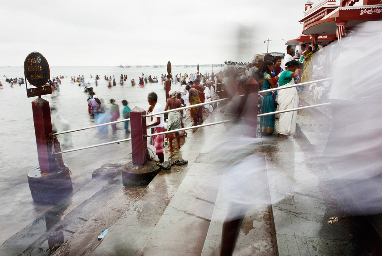 The ghats of Agni Teertham in Rameswaram lead pilgrims to the sea.