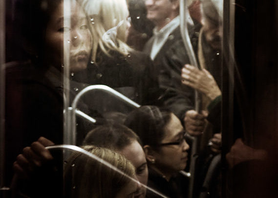 A crowded subway train in Manhattan.