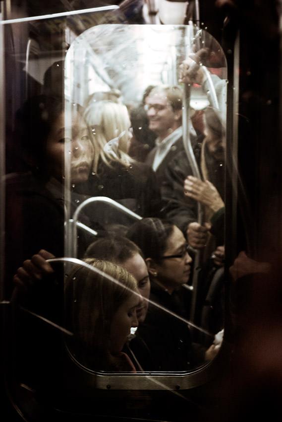 A crowded subway train in Manhattan.