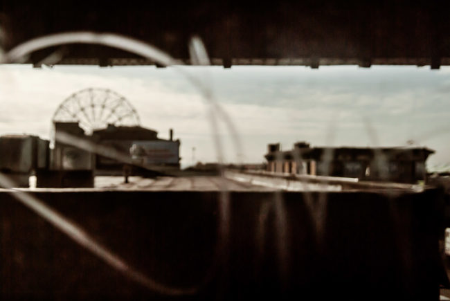 Coney Island seen from a subway window.