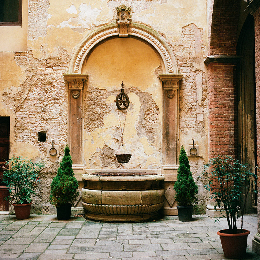 The interior of a courtyard in Siena