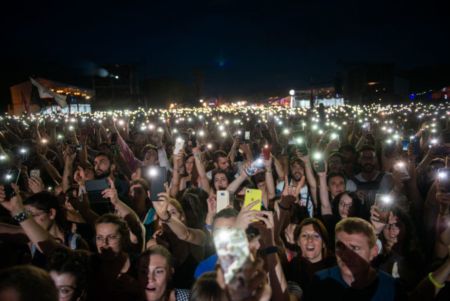 Cell Phones lightens the crowd during a show at Musilac.